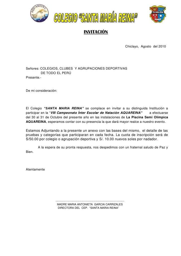INVITACIÓN<br />                     <br /> Chiclayo,  Agosto  del 2010<br />Señores: COLEGIOS, CLUBES  Y AGRUPACIONES DEP...