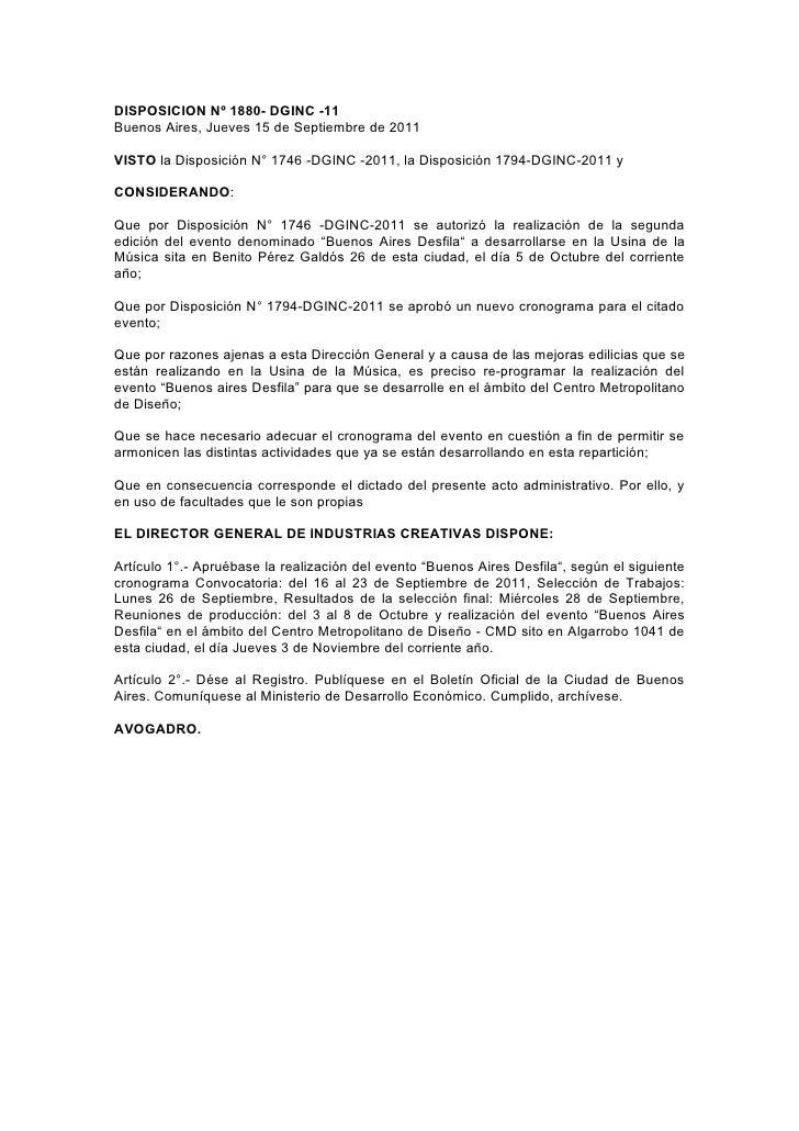 DISPOSICION Nº 1880- DGINC -11Buenos Aires, Jueves 15 de Septiembre de 2011VISTO la Disposición N° 1746 -DGINC -2011, la D...