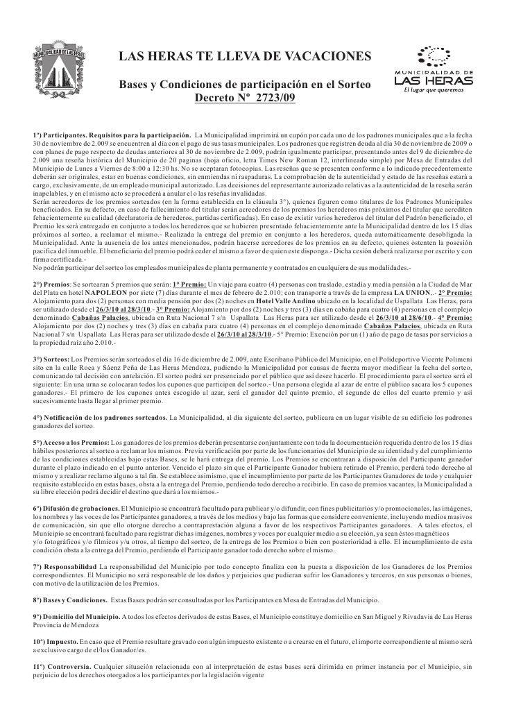 LAS HERAS TE LLEVA DE VACACIONES                               Bases y Condiciones de participación en el Sorteo          ...