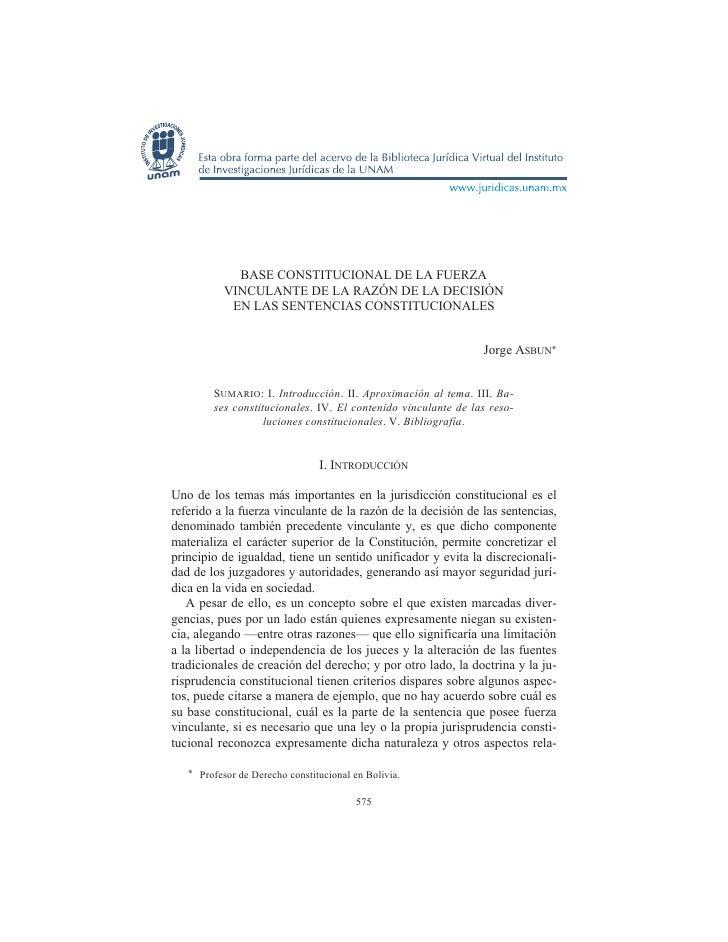 BASE CONSTITUCIONAL DE LA FUERZA           VINCULANTE DE LA RAZÓN DE LA DECISIÓN            EN LAS SENTENCIAS CONSTITUCION...