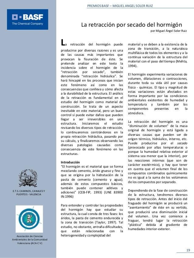 PREMIOS BASF – MIGUEL ANGEL SOLER RUIZ                                             La retracción por secado del hormigón  ...