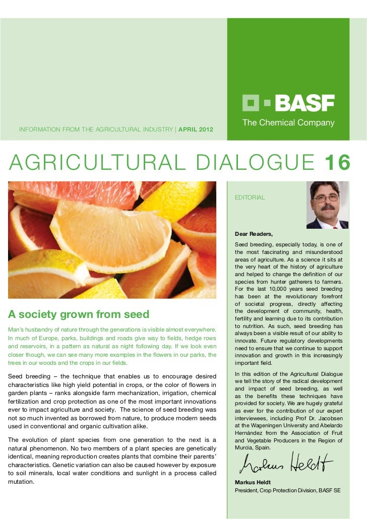 INFORMATION FROM THE AGRICULTURAL INDUSTRY | APRIL 2012AGRICULTURAL DIALOGUE 16                                           ...