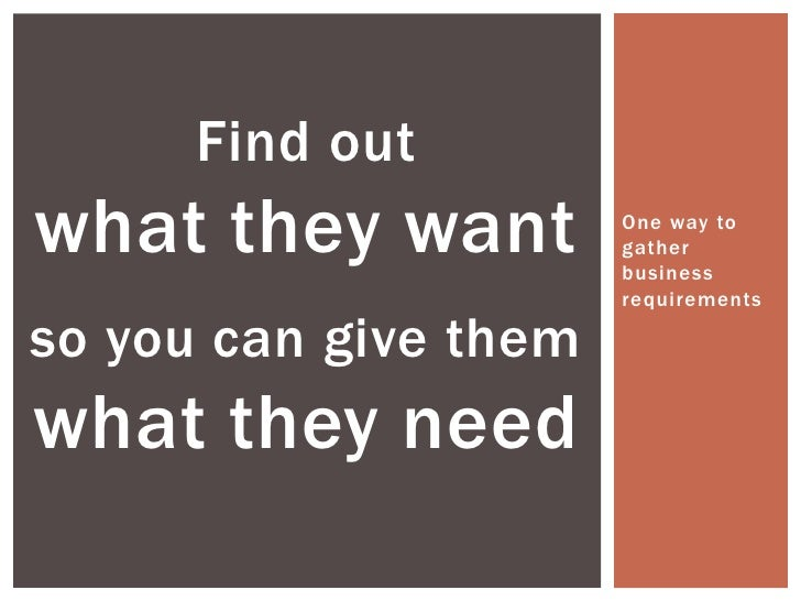 One way to gather business requirements<br />Find outwhat they want<br />so you can give them<br />what they need<br />