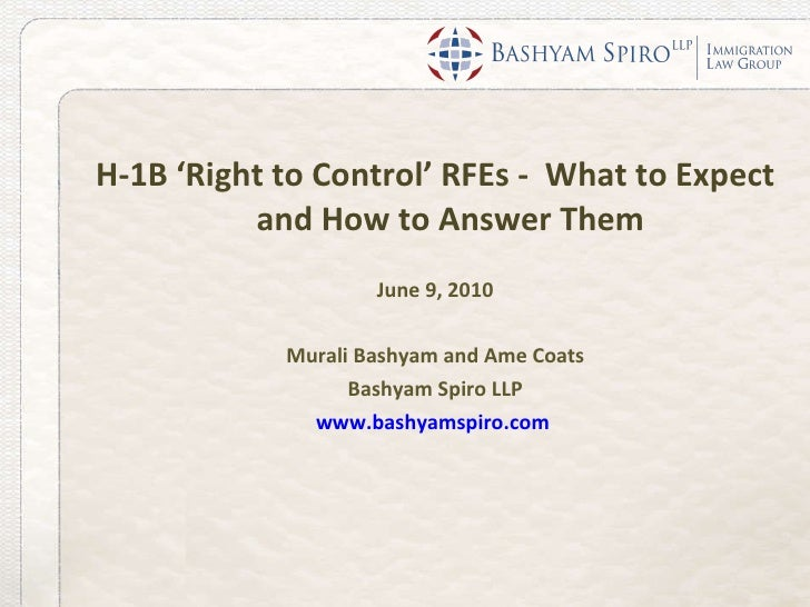 H-1B 'Right To Control' RFEs: What to Expect and How to Answer Them