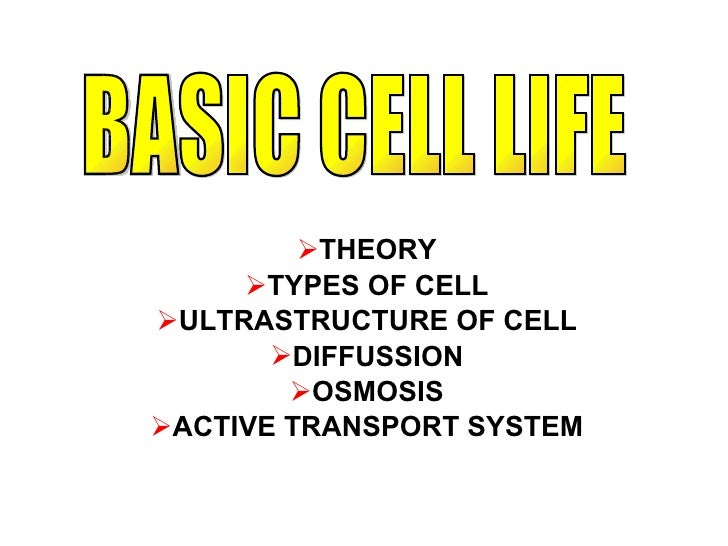 <ul><li>THEORY </li></ul><ul><li>TYPES OF CELL </li></ul><ul><li>ULTRASTRUCTURE OF CELL </li></ul><ul><li>DIFFUSSION </li>...