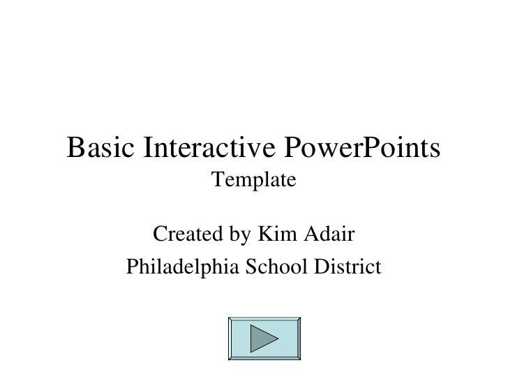 Basic Interactive PowerPoints  Template  Created by Kim Adair Philadelphia School District
