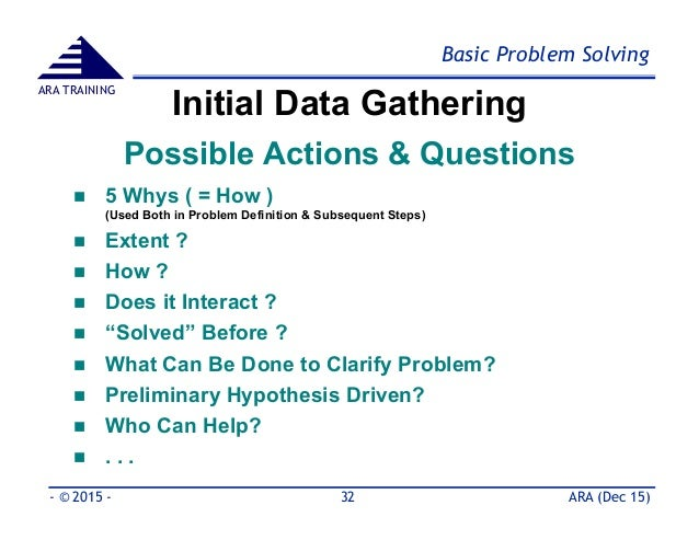 training as a problem solving tool