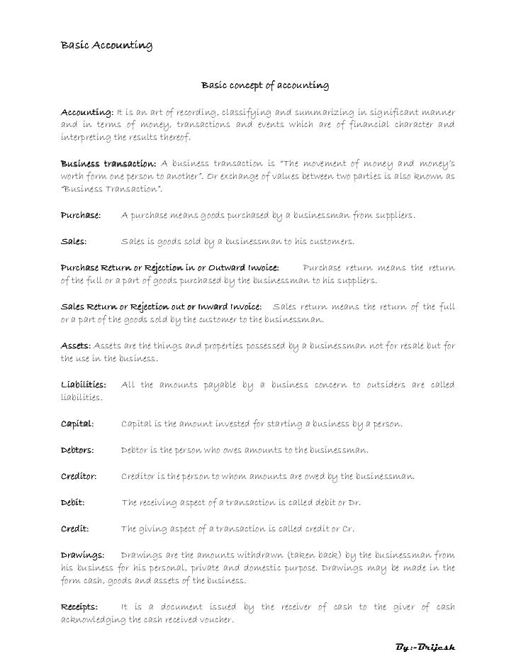 Basic Accounting                                  Basic concept of accountingAccounting: It is an art of recording, classi...