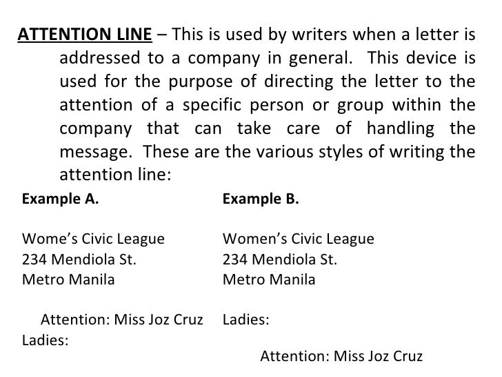 how to put attention in a letter