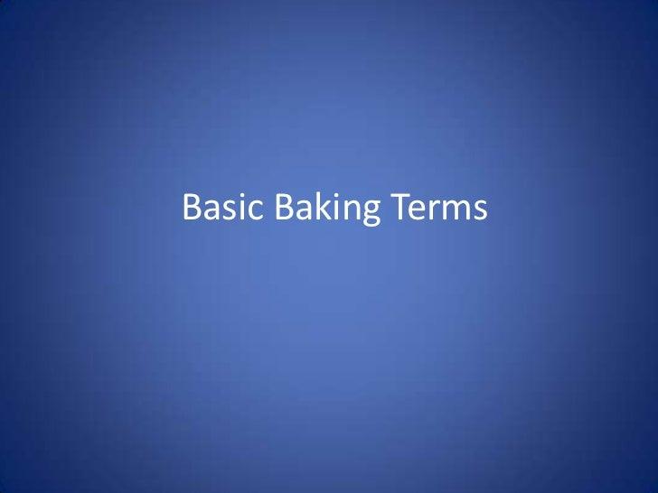 Basic Baking Terms