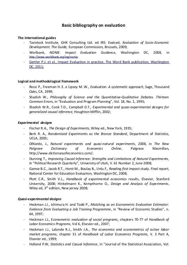 Basic bibliography on evaluation - Encuentro sobre monitoreo y evaluación de las políticas de empleo con el fin de elaborar una propuesta de trabajo por país /Roberto De Vincenzi, ISFOL