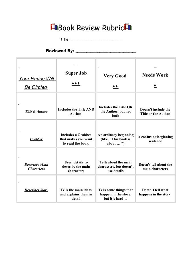 Simple Book Cover Review : Basic book review rubric