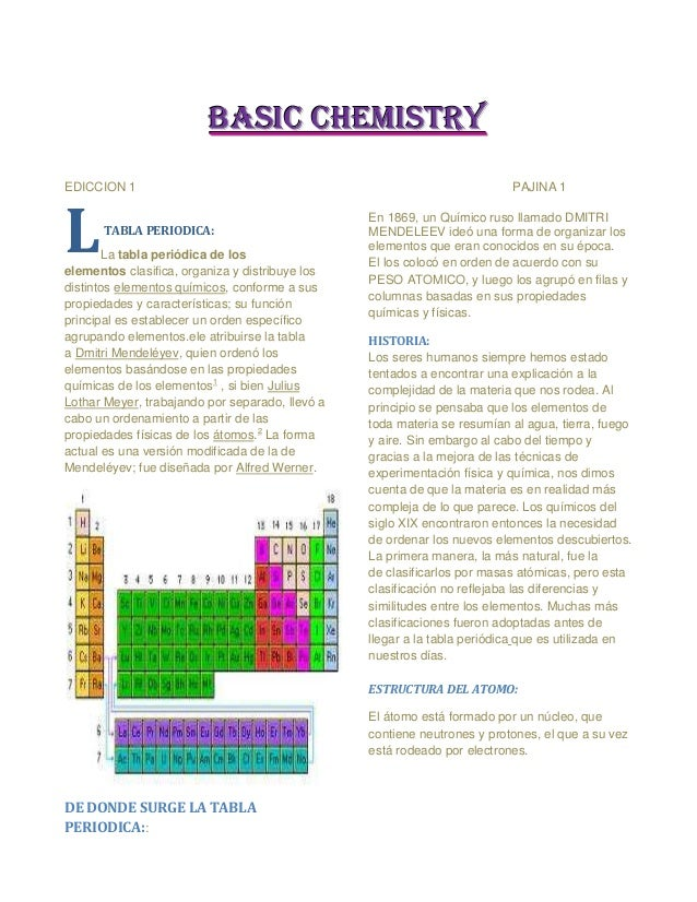 BASIC CHEMISTRYEDICCION 1                                                                PAJINA 1L     TABLA PERIODICA:   ...