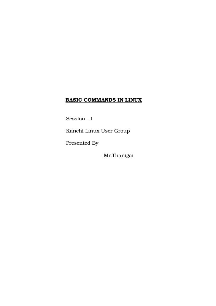 Basic Commands  1 By Thanigai