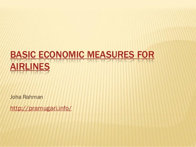 Basic economic measures for airlines