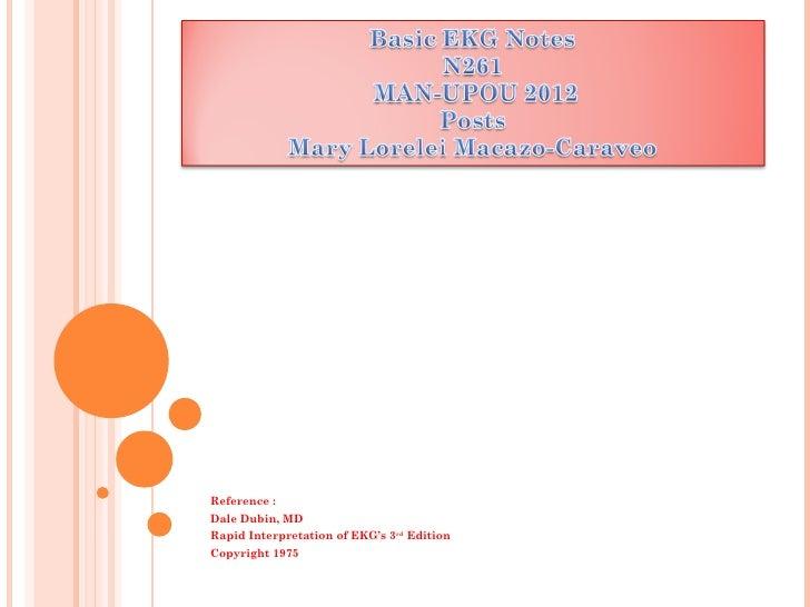 Reference :Dale Dubin, MDRapid Interpretation of EKG's 3rd EditionCopyright 1975