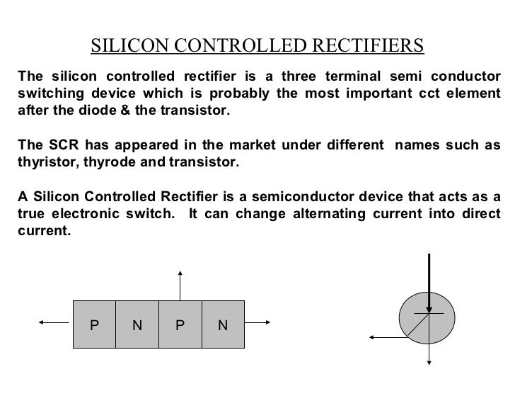 SILICON CONTROLLED RECTIFIERSThe silicon controlled rectifier is a three terminal semi conductorswitching device which is ...