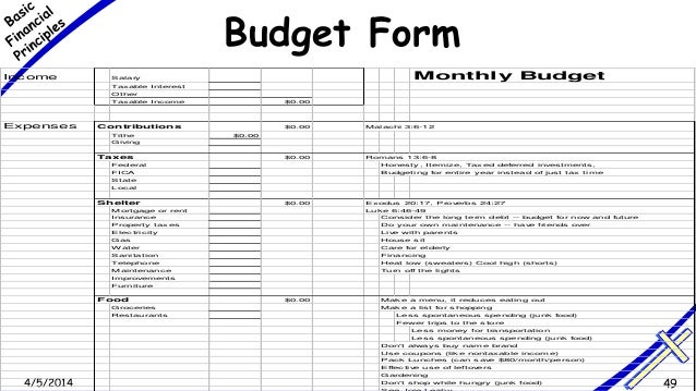 2014 49 budget form income salary monthly budget