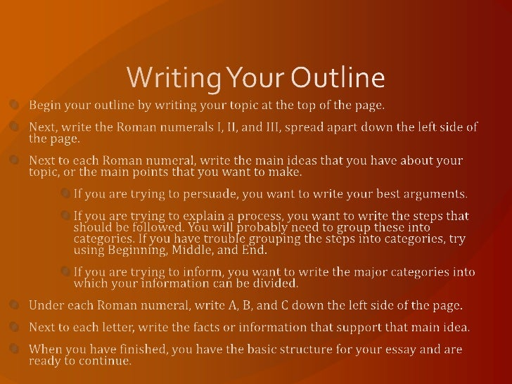 basic outline for writing an essay Prewriting and outlining write the subject of your essay since having an idea of what you'll say in the paper will make it much easier to write an outline.