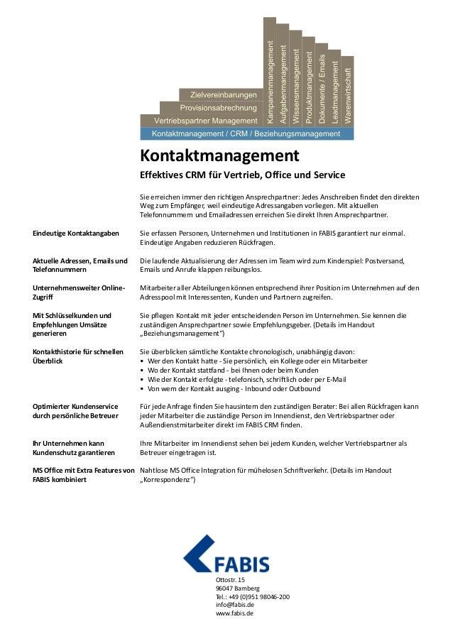 Handout CRM Kontaktmanagement von FABIS