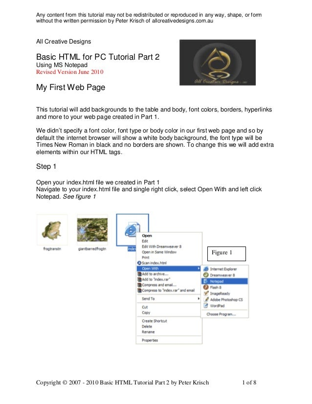 Any content from this tutorial may not be redistributed or reproduced in any way, shape, or formwithout the written permis...