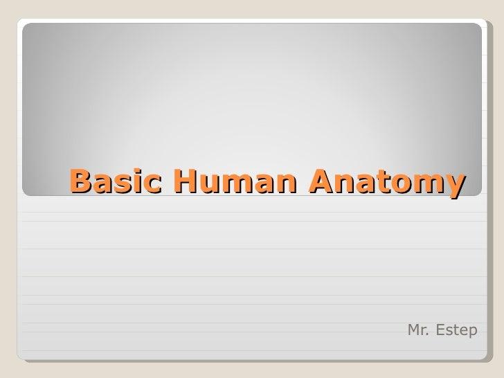 Basic Human Anatomy Mr. Estep