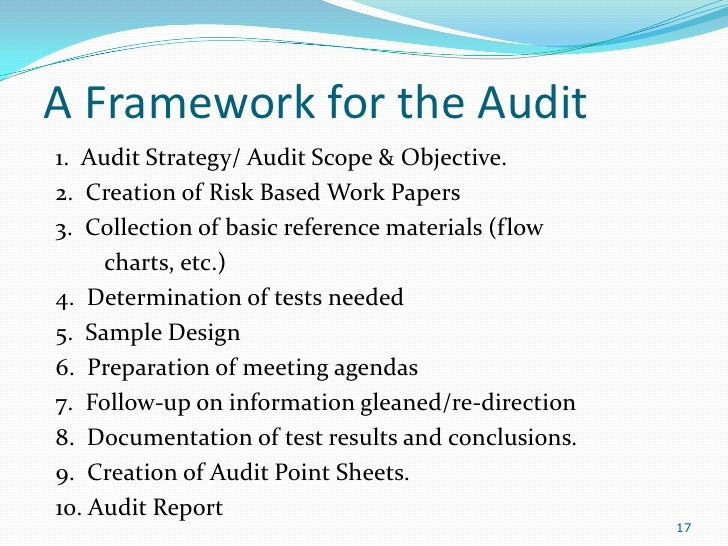 Basic internal auditing presentation for Internal audit scope template