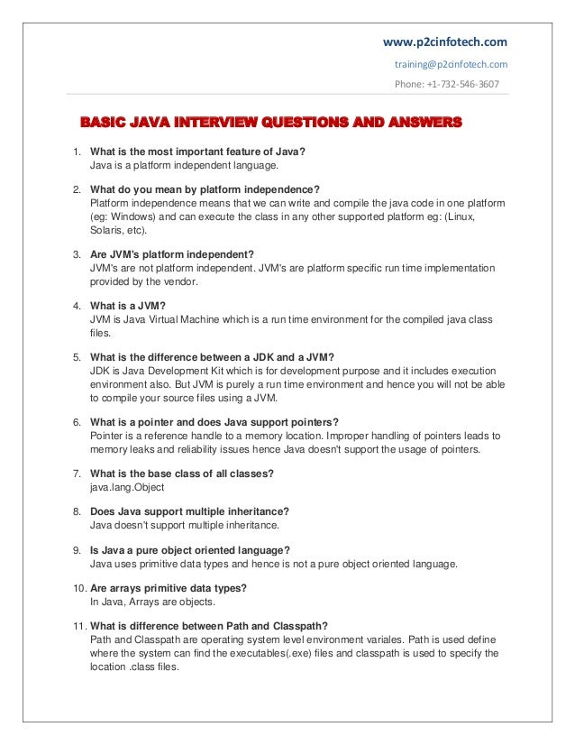 Basic Java Important Interview Questions And Answers To