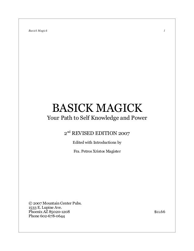 Basick Magick                                              1                BASICK MAGICK            Your Path to Self Kno...