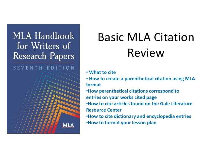 Basic mla citation review