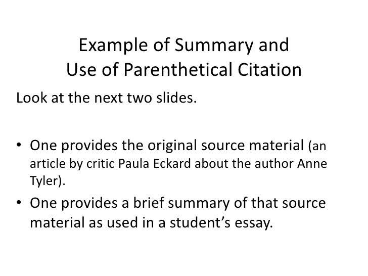 Summary Essay Format