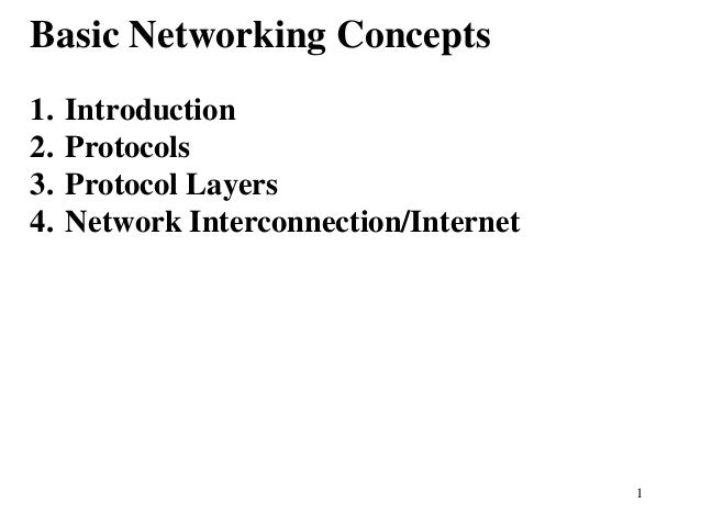 1Basic Networking Concepts1. Introduction2. Protocols3. Protocol Layers4. Network Interconnection/Internet