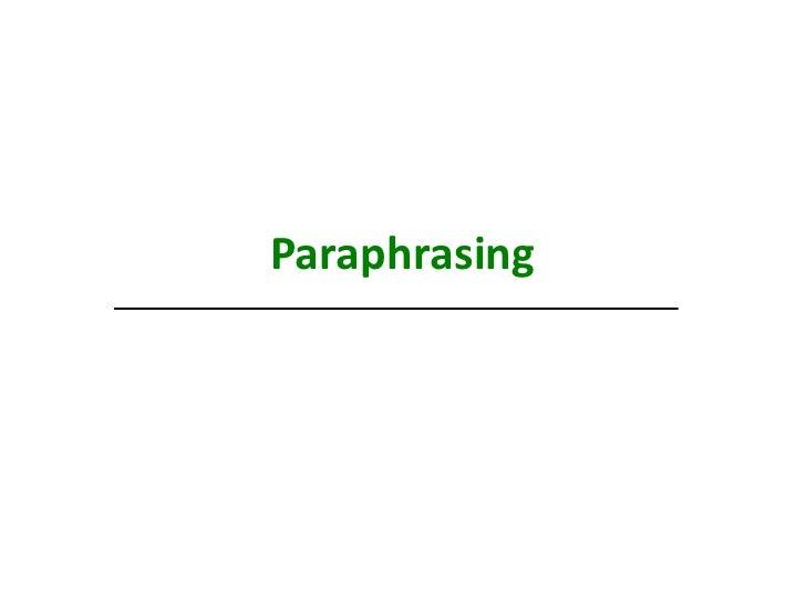 English paraphrasing