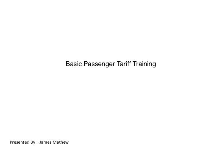 Basic Passenger Tariff Training