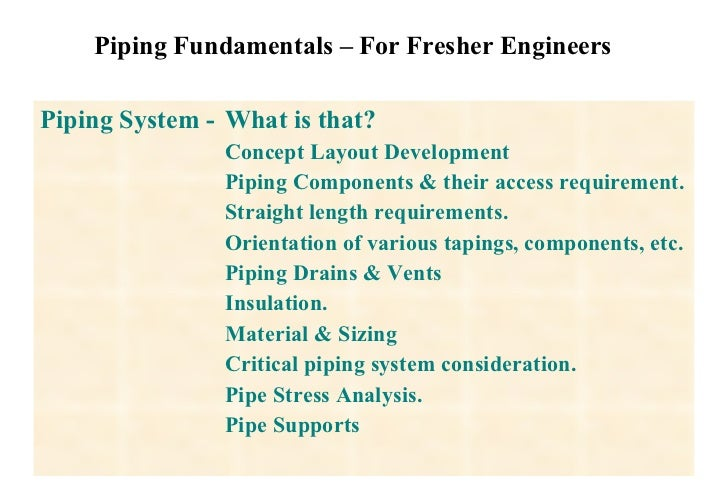 Piping Fundamentals – For Fresher Engineers Piping System -  What is that? Concept Layout Development Piping Components & ...
