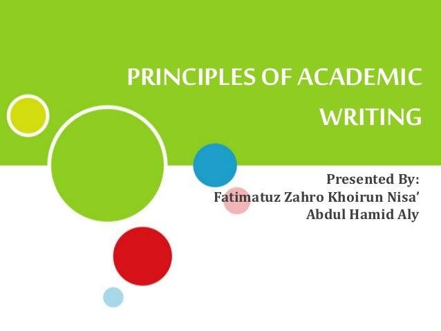 Help with academic writing principles