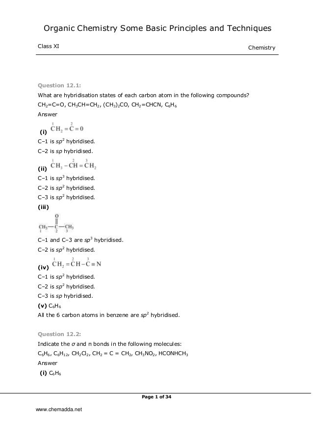 Organic Chemistry Some Basic Principles and Techniques Class XI Chemistry Page 1 of 34 Question 12.1: What are hybridisati...
