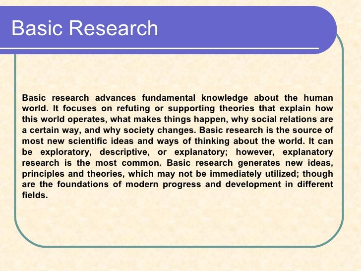 Free Sample College What is fundamental research definition