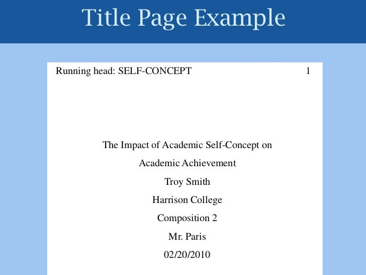 title page research paper apa format
