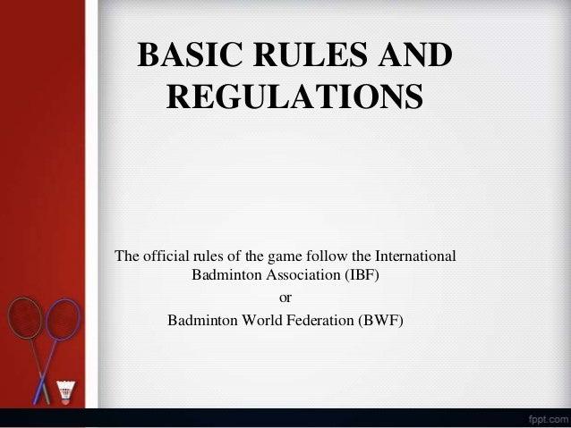 Badminton Rules and Regulations PDF