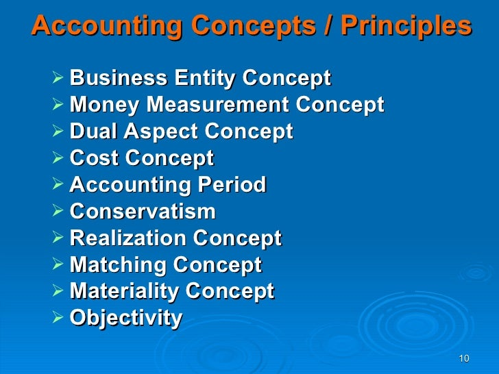 the various accounting concepts The following points highlight the ten major types of accounting concepts the ten concepts are: 1 business entity concept 2 going concern concept 3 money measurement concept (monetary.