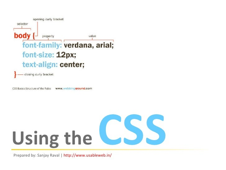 Using the  CSS Prepared by: Sanjay Raval |  http:// www.usableweb.in /