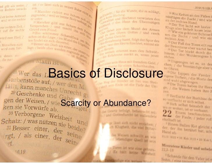 Basics of disclosure