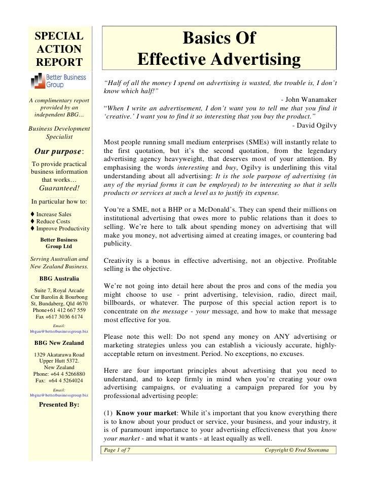 Basics of effective advertising