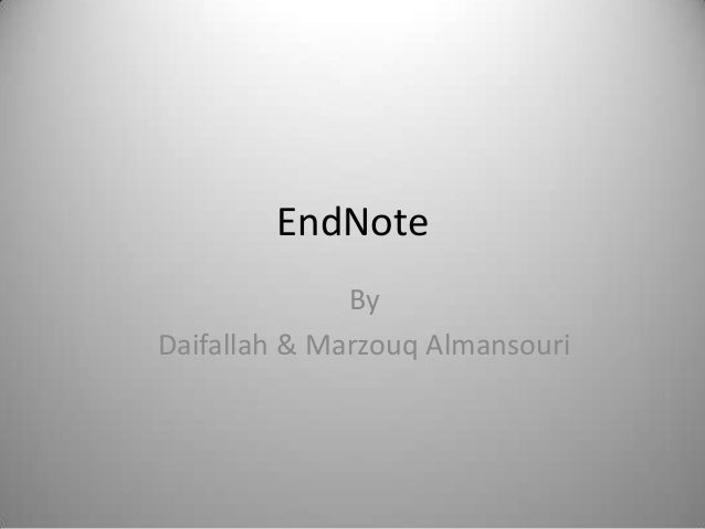 Basics of EndNote x5 and above
