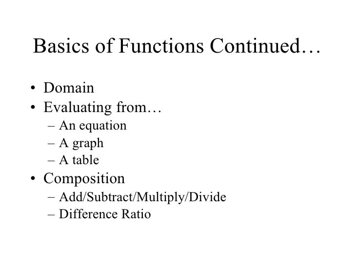 Basics of functions continued