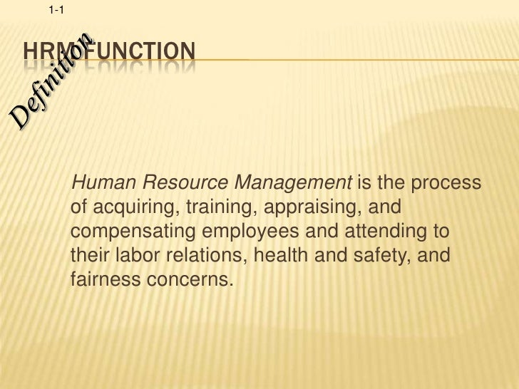 HRM Function<br />Definition<br />Human Resource Management is the process of acquiring, training, appraising, and compens...