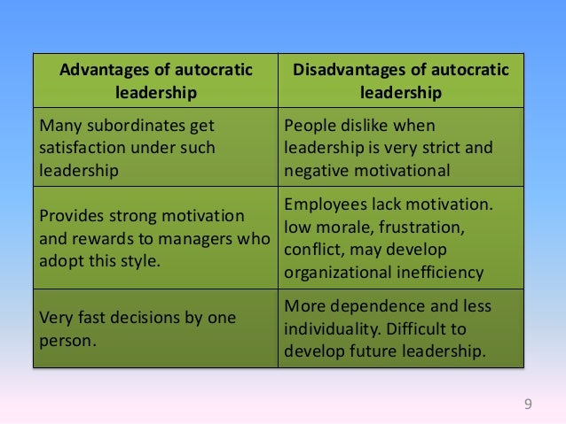 advantages and disadvantages of transformational leadership Advantages and disadvantages of transformational leadership as transformational leadership is about inspiring subordinates to follow the vision of the leader, the framework can be highly fruitful in this section, we'll examine the benefits of the leadership in detail.