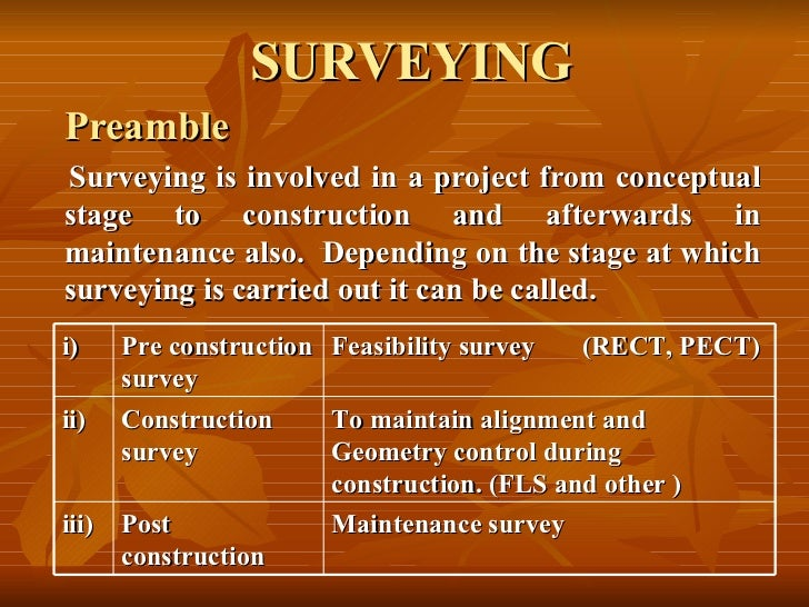 SURVEYING Preamble Surveying is involved in a project from conceptual stage to construction and afterwards in maintenance ...