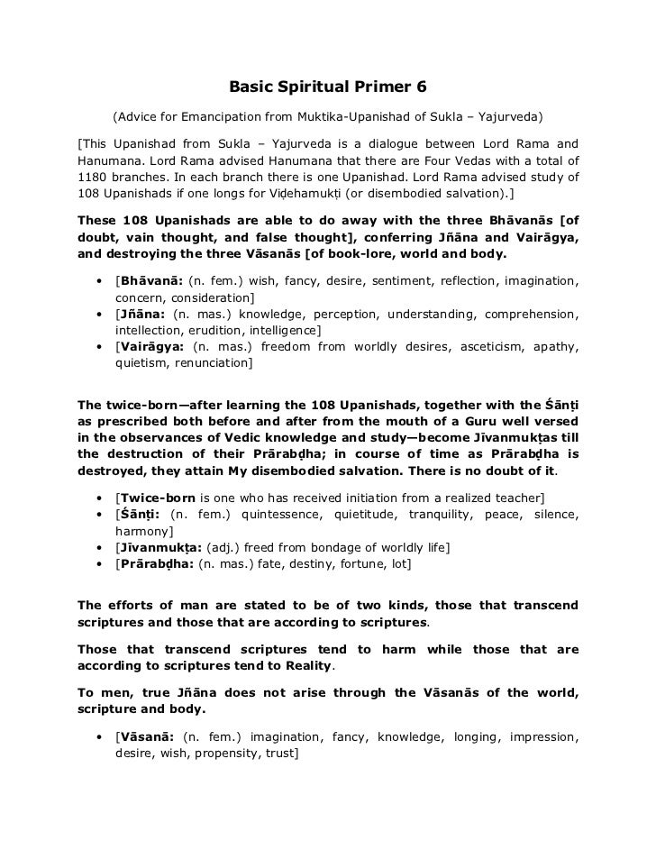 Basic Spiritual Primer 6 (Way to Liberation)